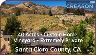 Santa Clara County Vineyard For Sale - Los Gatos Home and Land - Extremely Private