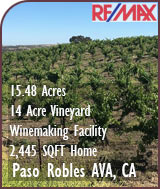 Paso Robles AVA Vineyard and Home For Sale w/ Winemaking Facility