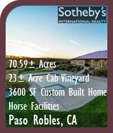 Vineyards For Sale - Paso Robles Vineyard and Custom Home For Sale - Horse Farm w/ Large Barn - Paso Robles Wine Country